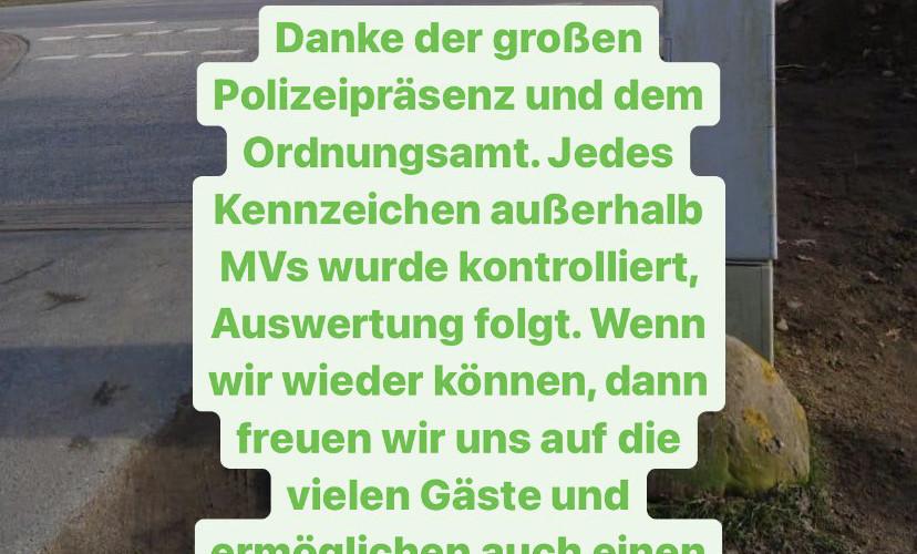 Corona bedingte Polizeipräsenz im Ostseebad Boltenhagen
