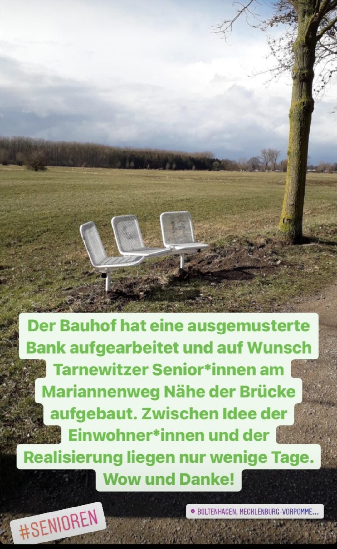 Auf Wunsch Tarnewitzer Senior*innen sind nun Bänke am Mariannenweg