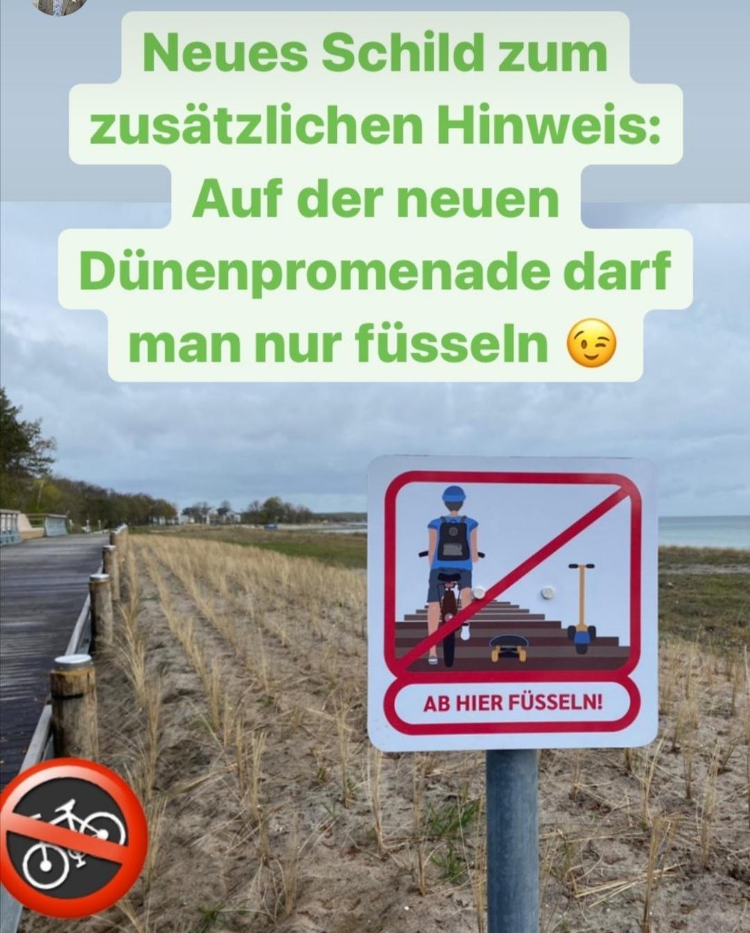 Kein Befahren! Auf der Dünenpromenade darf man füsseln.