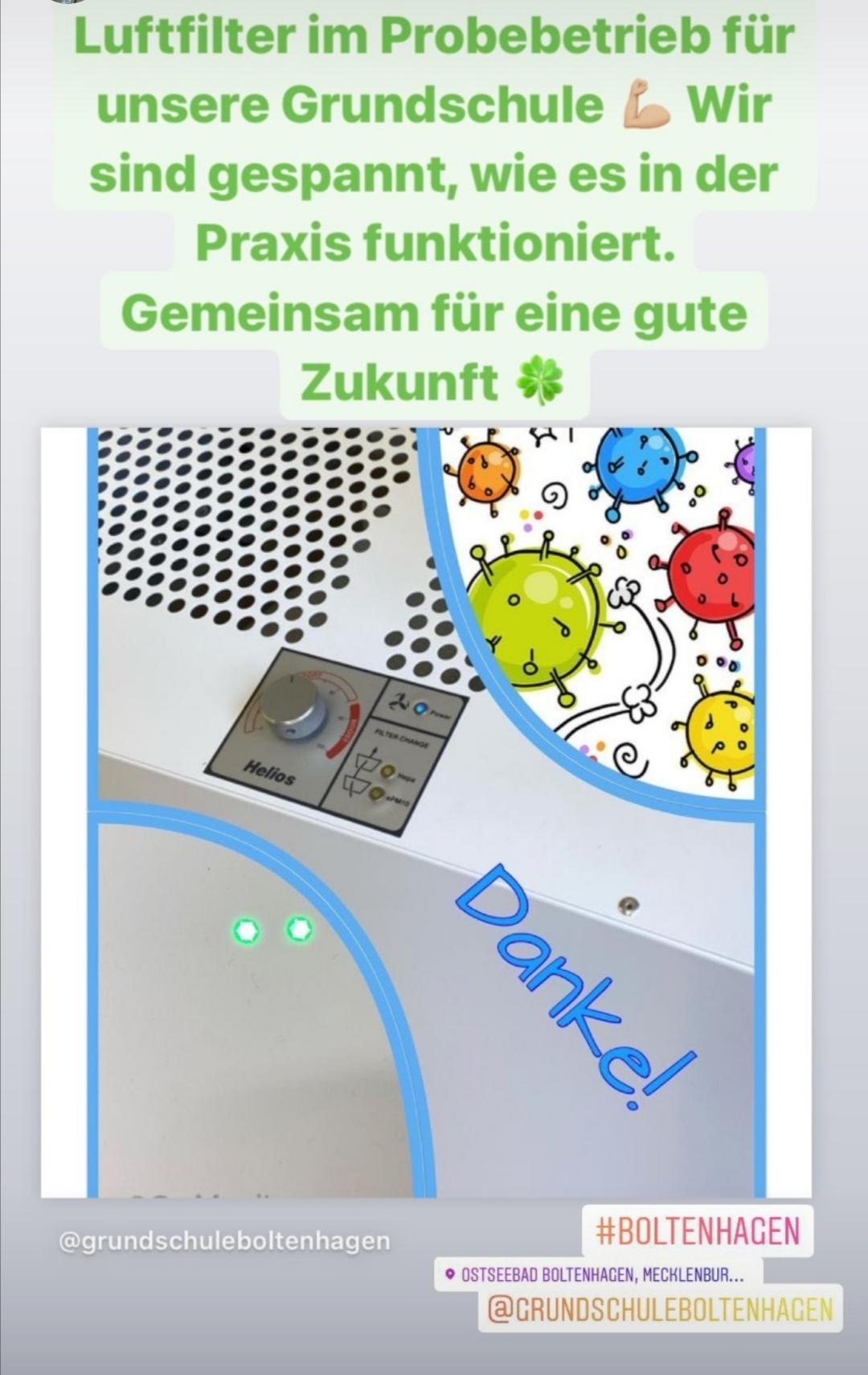 Unsere Grundschule erhält Luftfilter im Probebetrieb. CO2- Ampeln in Modellräumen. Gemeinsam für eine gute Zukunft.
