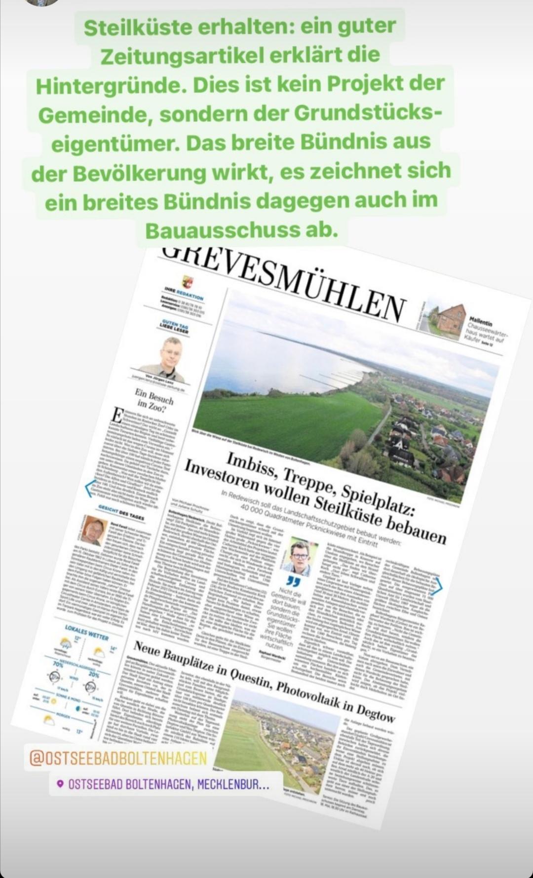 Die Steilküste Boltenhagen muss geschützt bleiben! Bürgermeister Raphael Wardecki befürwortet die Petition.