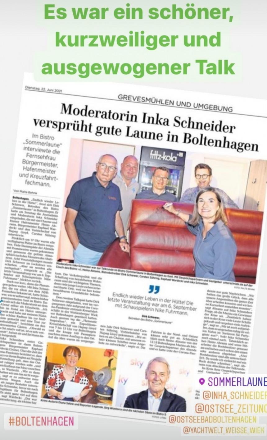 Bistro Sommerlaune- Talk mit NDR Moderatorin Inka Schneider
