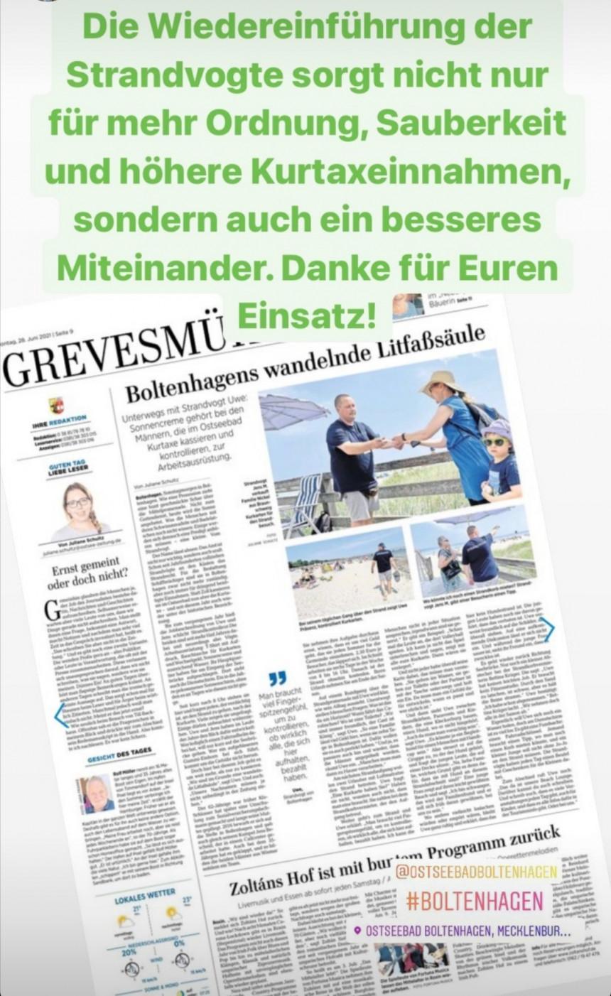 Danke an Boltenhagener Strandvögte, die unseren Gästen als Ansprechpartner behilflich sind und zudem für Ordnung und Sauberkeit sorgen.