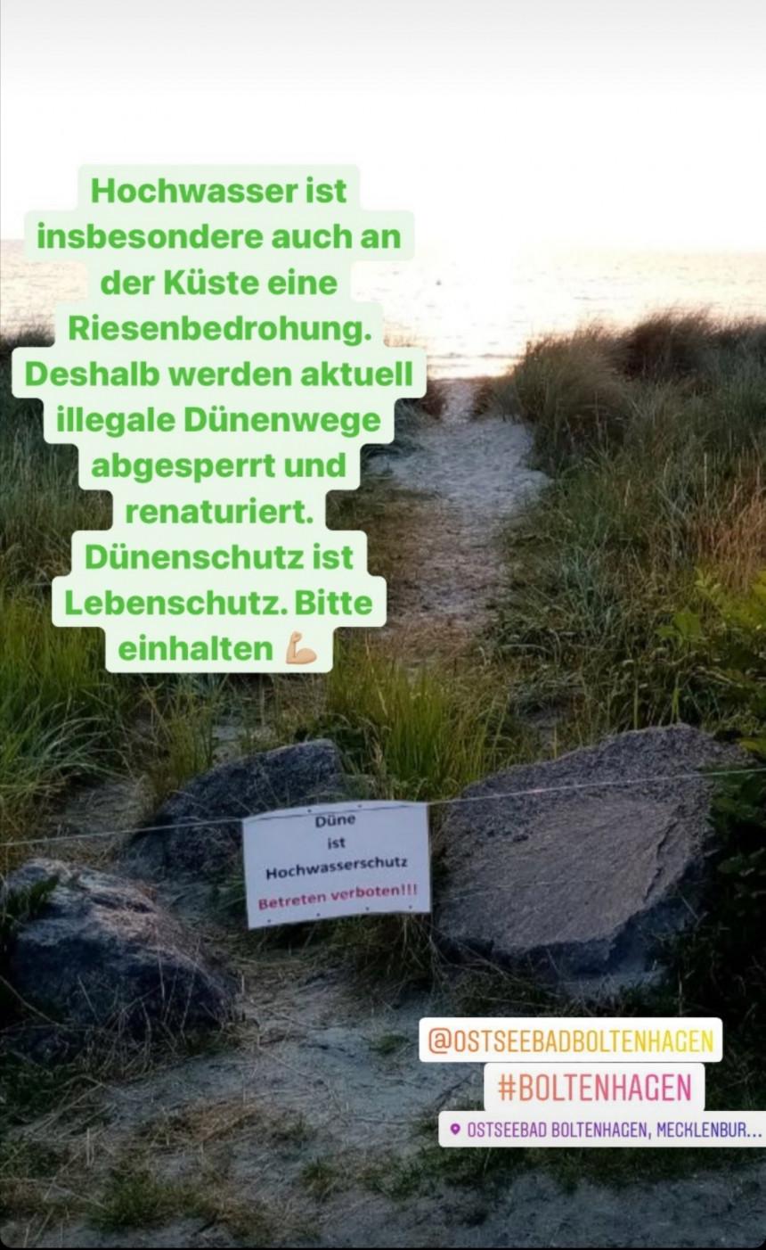 Dünenschutz ist Lebensschutz. Illegale Dünenwege werden aktuell abgesperrt.