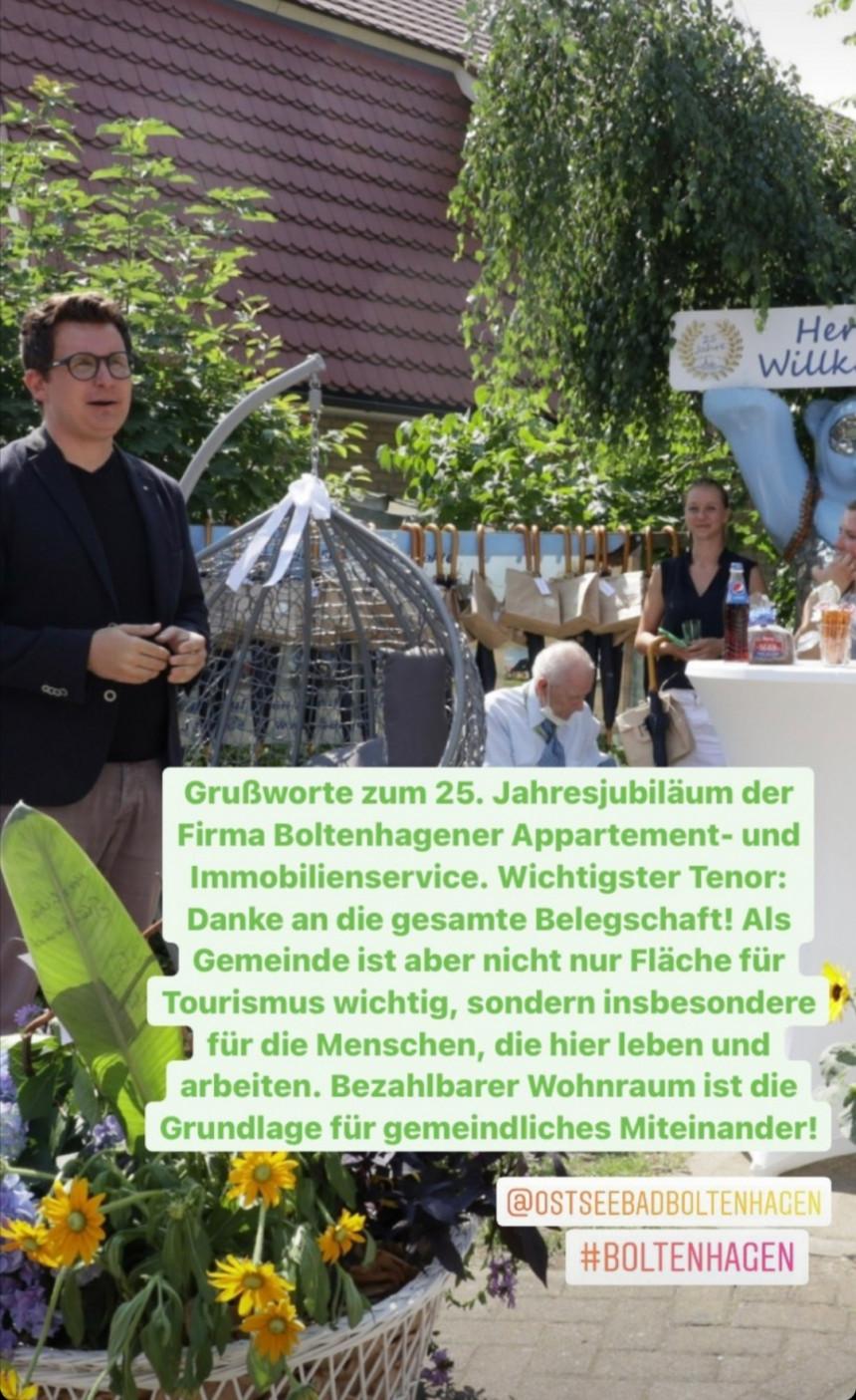 Grußworte zum 25. Jubiläum der Firma Boltenhagener Appartement und Immobilien GmbH.