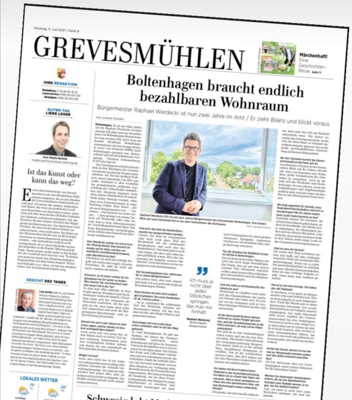 Seit zwei Jahren Bürgermeister von Boltenhagen. Heute ein großes Interview zum Jahrestag in der Ostseezeitung und in den Lübecker Nachrichten.