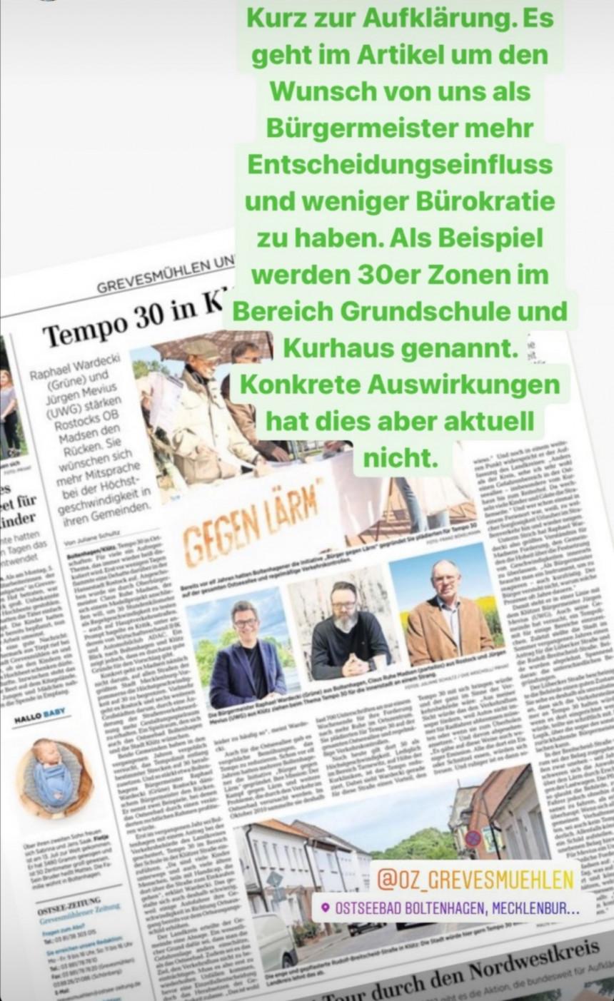 Erläuterung zum heutigen Artikel aus der Ostseezeitung