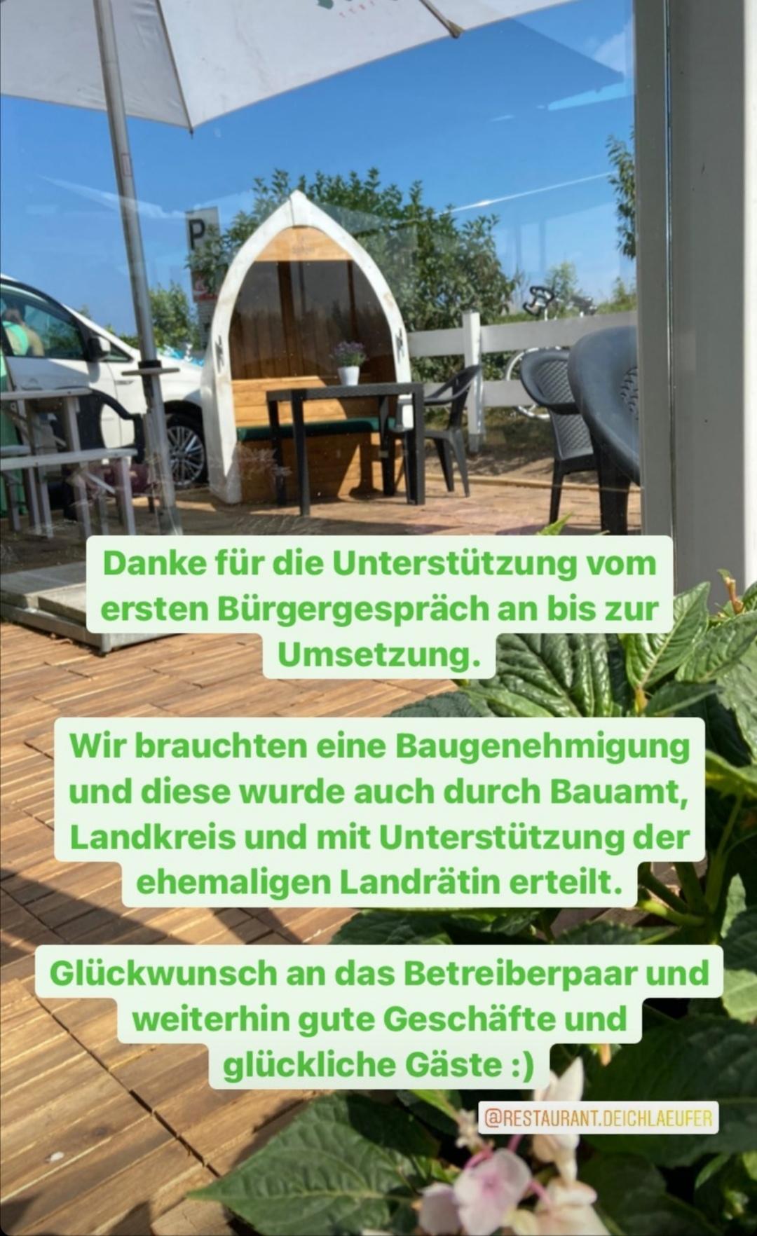 Restaurant Deichläufer benötigte Baugenehmigung für die Erweiterung der Außenterrasse