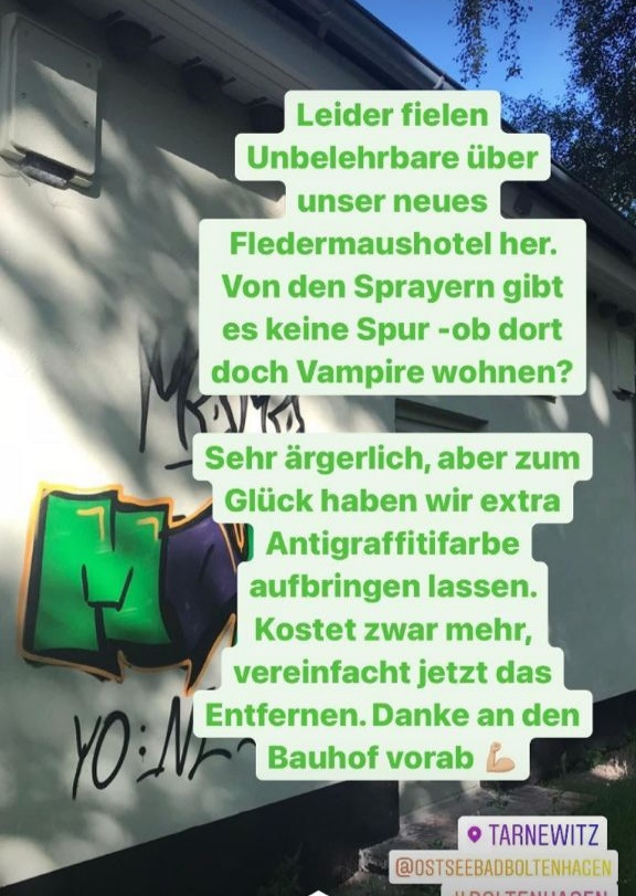 Sachbeschädigung-Artenschutzhaus in Tarnewitz besprüht. Zum Glück haben wir vorsorglich Antigraffitifarbe aufbringen lassen.
