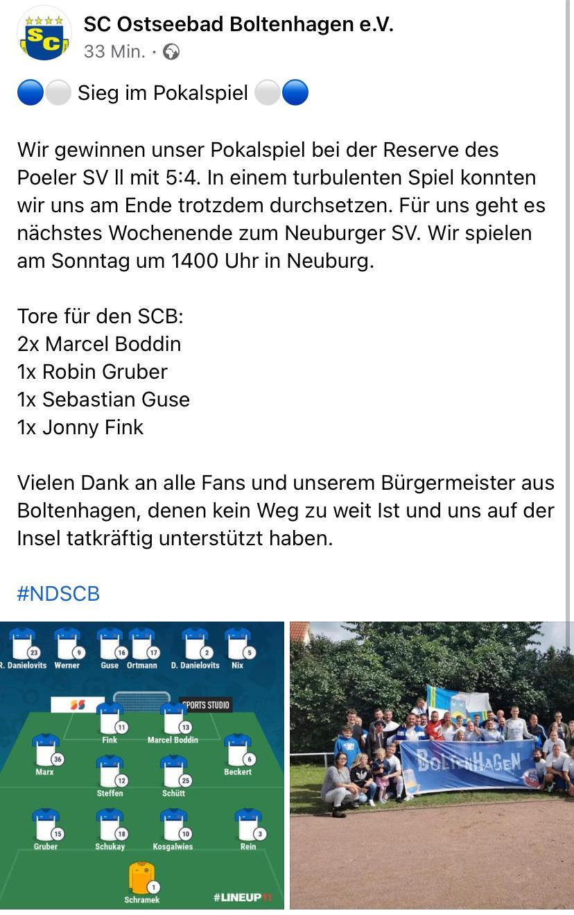 Wir gratulieren dem SC Boltenhagen zum Sieg im Pokalspiel gegen den Poeler SV II