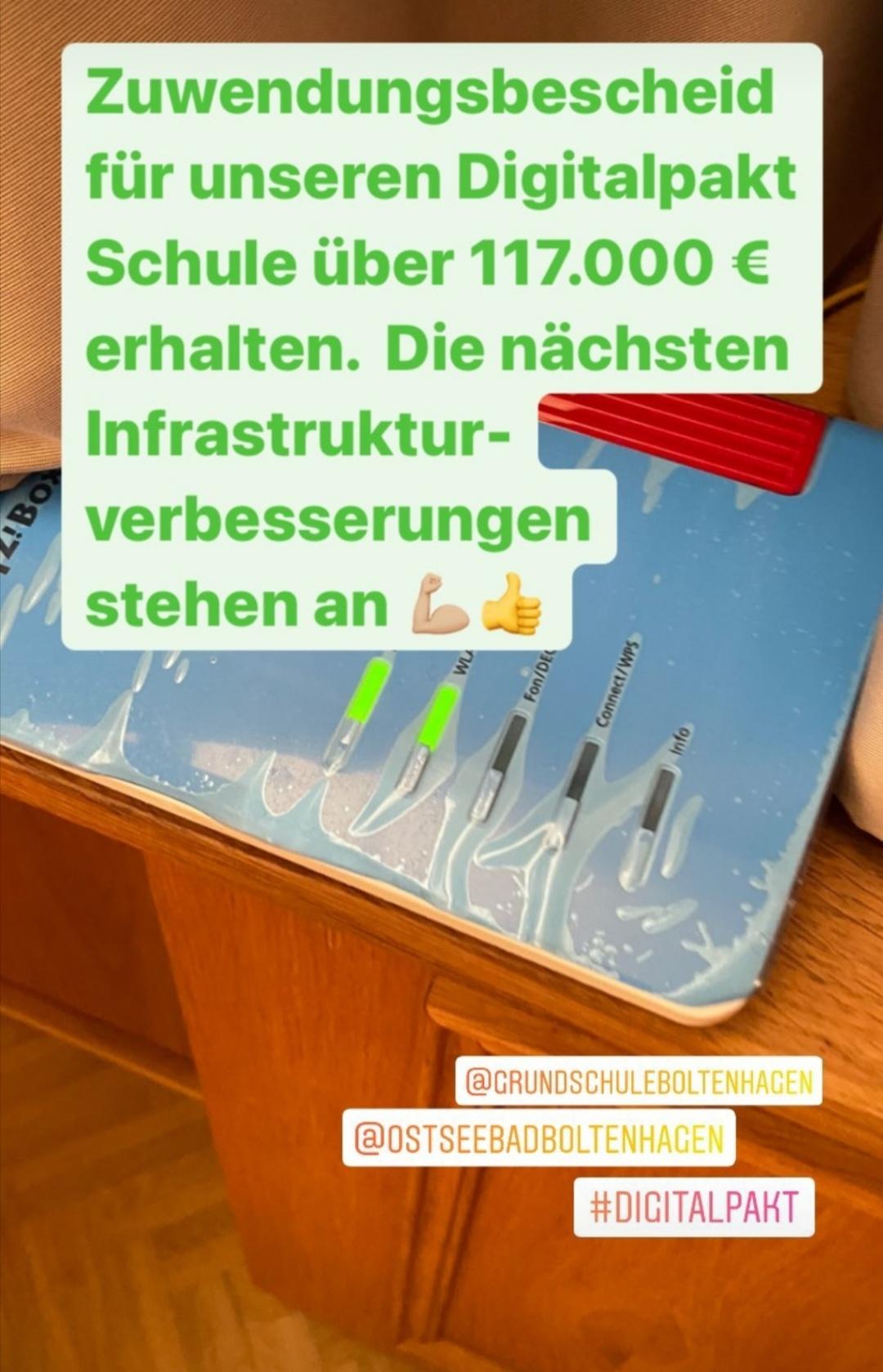 Digitalpakt Schule erhält einen Zuwendungsbescheid über 117.000€