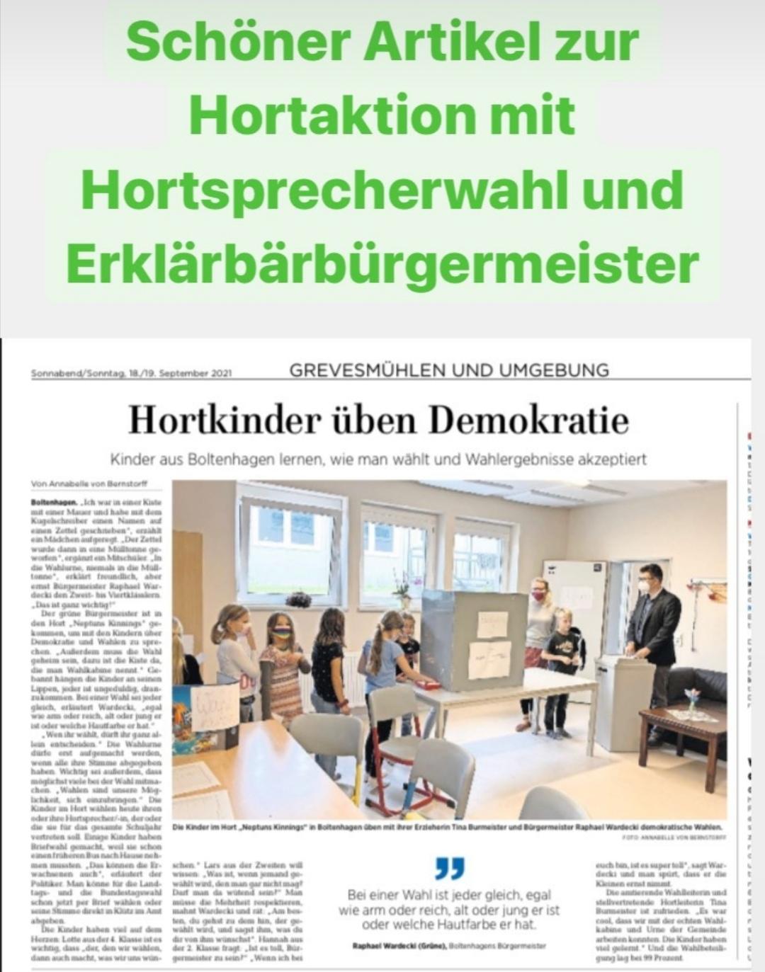 Demokratie will geübt sein! Hort lädt den Bürgermeister samt Wahlkabine und Wahlurne zur Wahl der Hortsprecherin- bzw. des Hortsprechers ein.