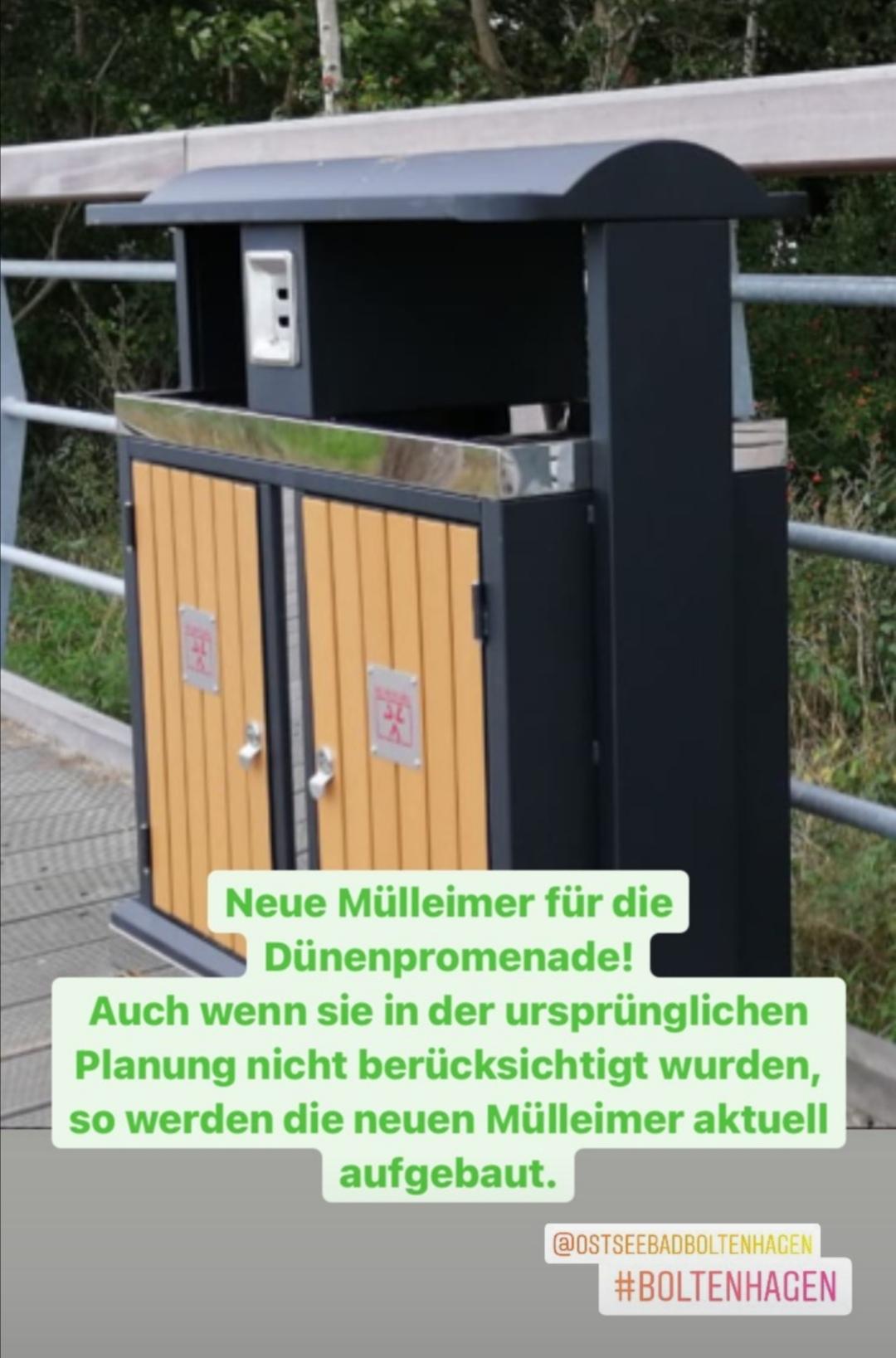 Aktuell werden die neuen Abfallbehälter auf der Dünenpromenade aufgebaut.