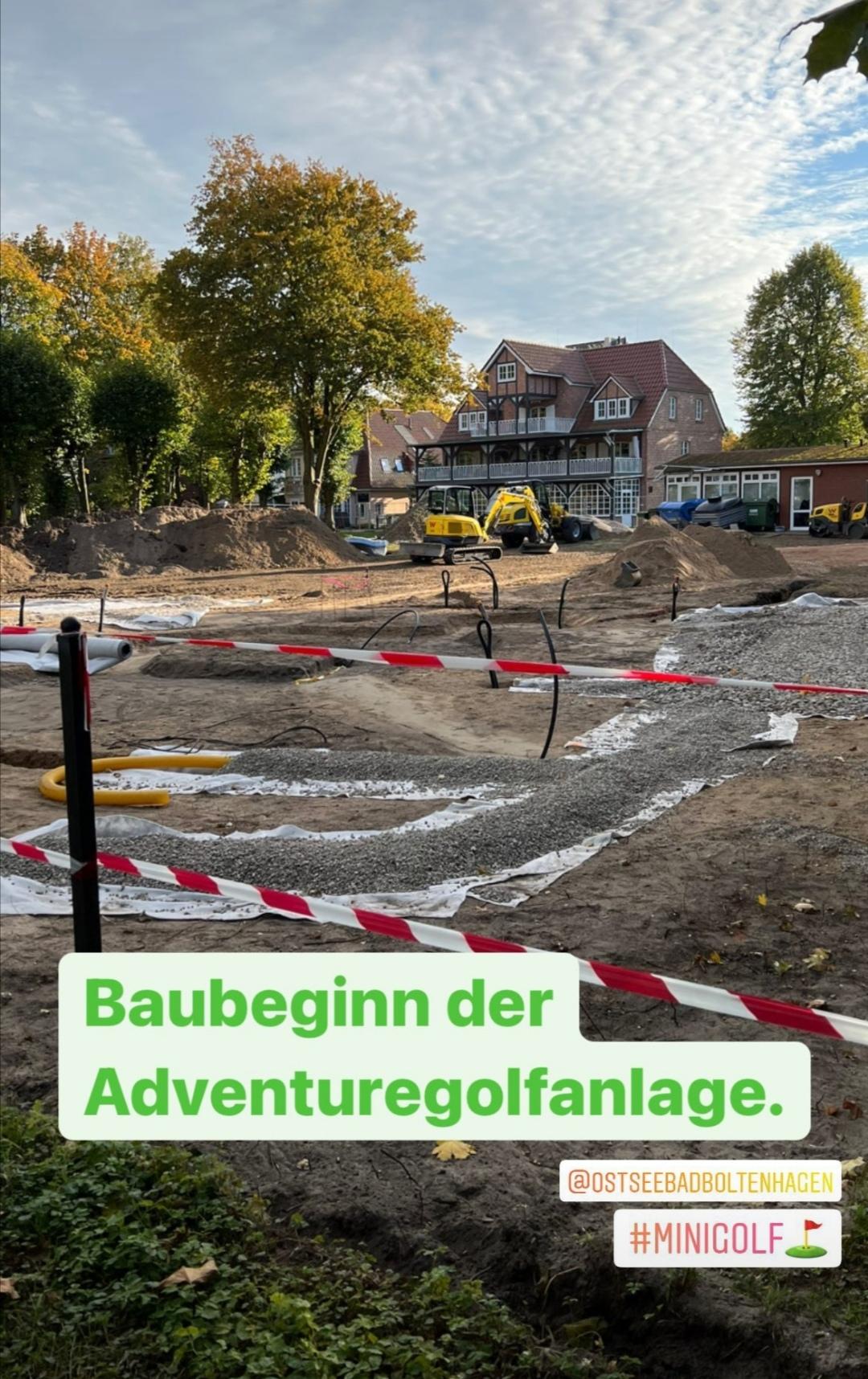 Baubeginn des Adventure Golfpark unter Camp David-Flagge im Ostseebad Boltenhagen.