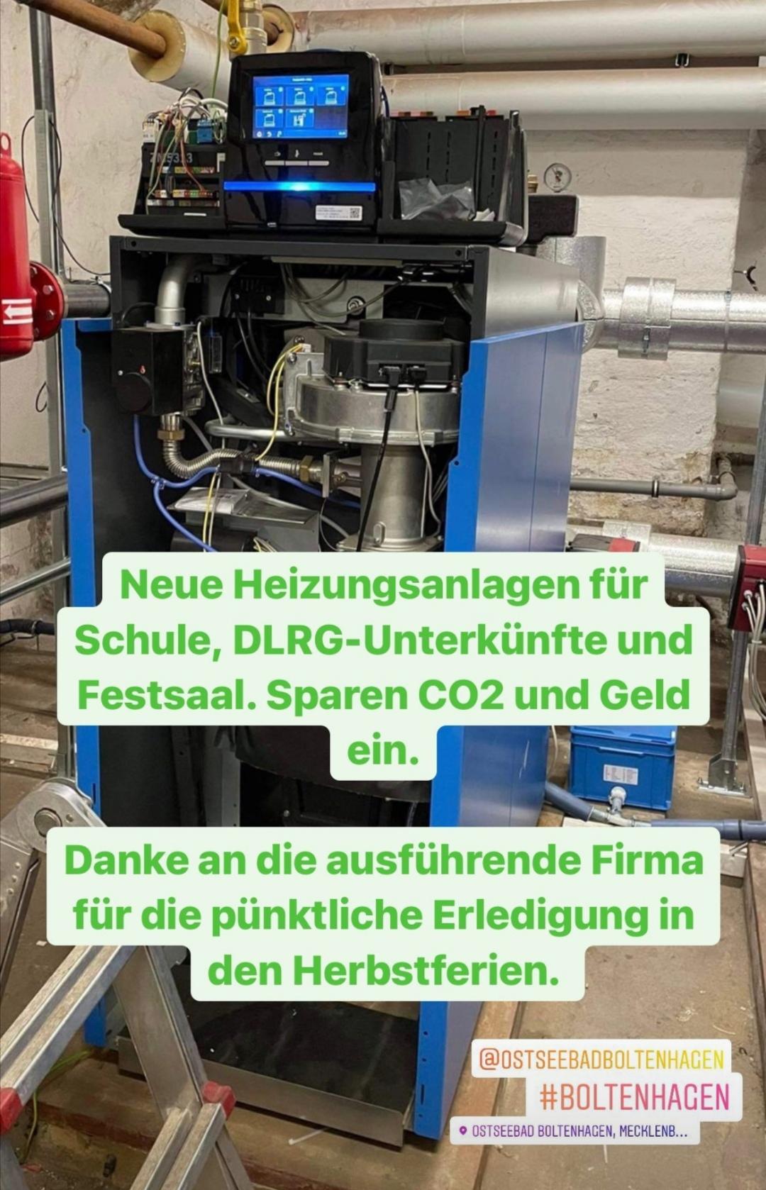 Schule, DLRG- Unterkünfte und Festsaal. Mit neuer Heizungsanlage sparen wir CO2 und Geld.