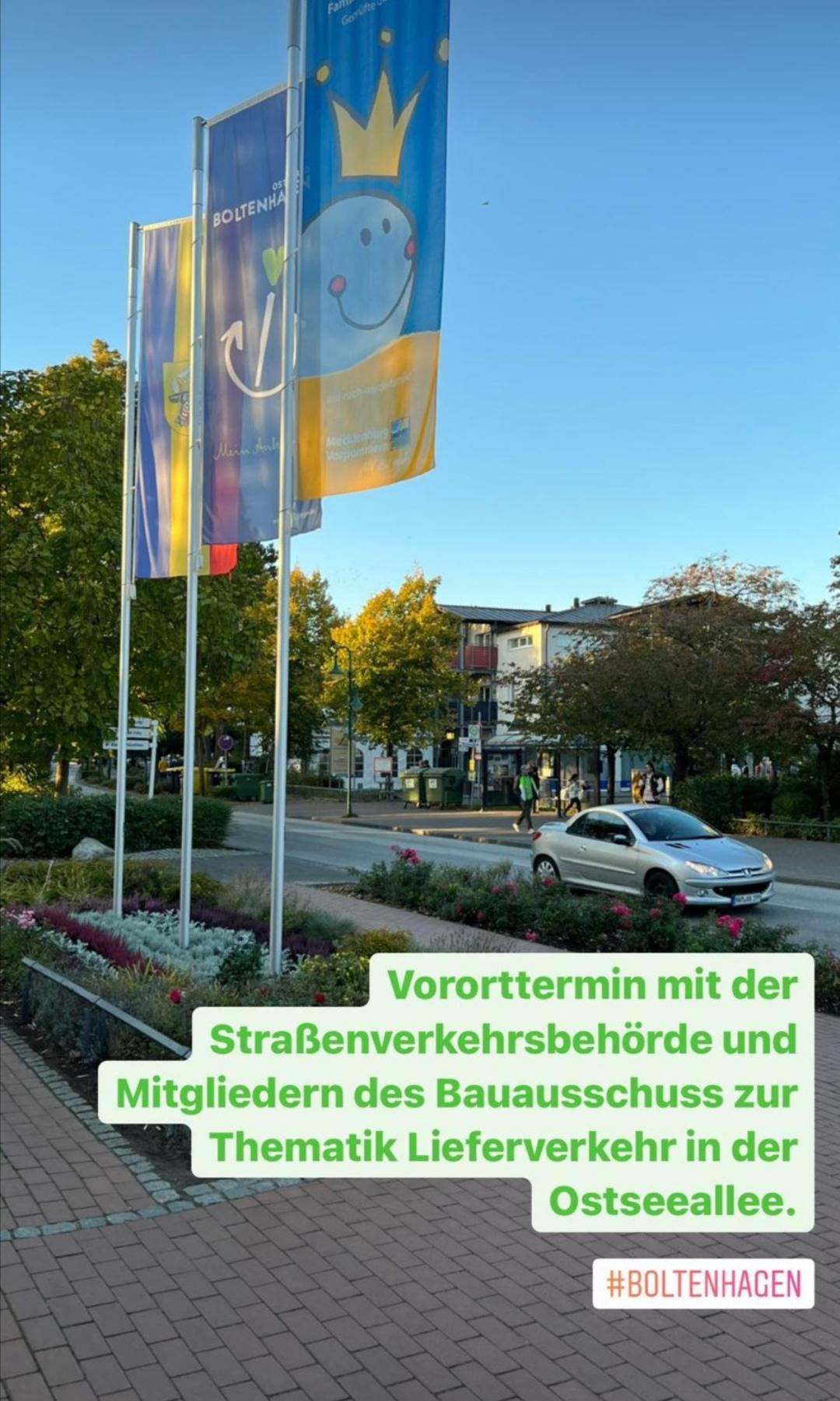 Vor-Ort-Termin Bürgermeister, Bauausschuss, Straßenverkehrsbehörde zum Thema Lieferverkehr an der Ostseeallee.